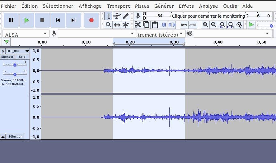 Audacity - sélection du bruit